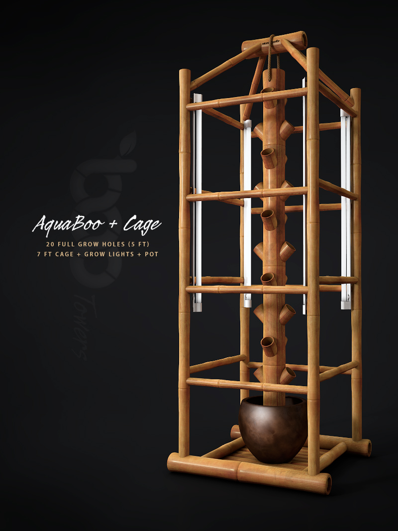 aquaboo-5ft-bamboo-vertical-gardening-tower-20-full-grow-holes-brown-pot-7ft-boomato-cage-grow-lights