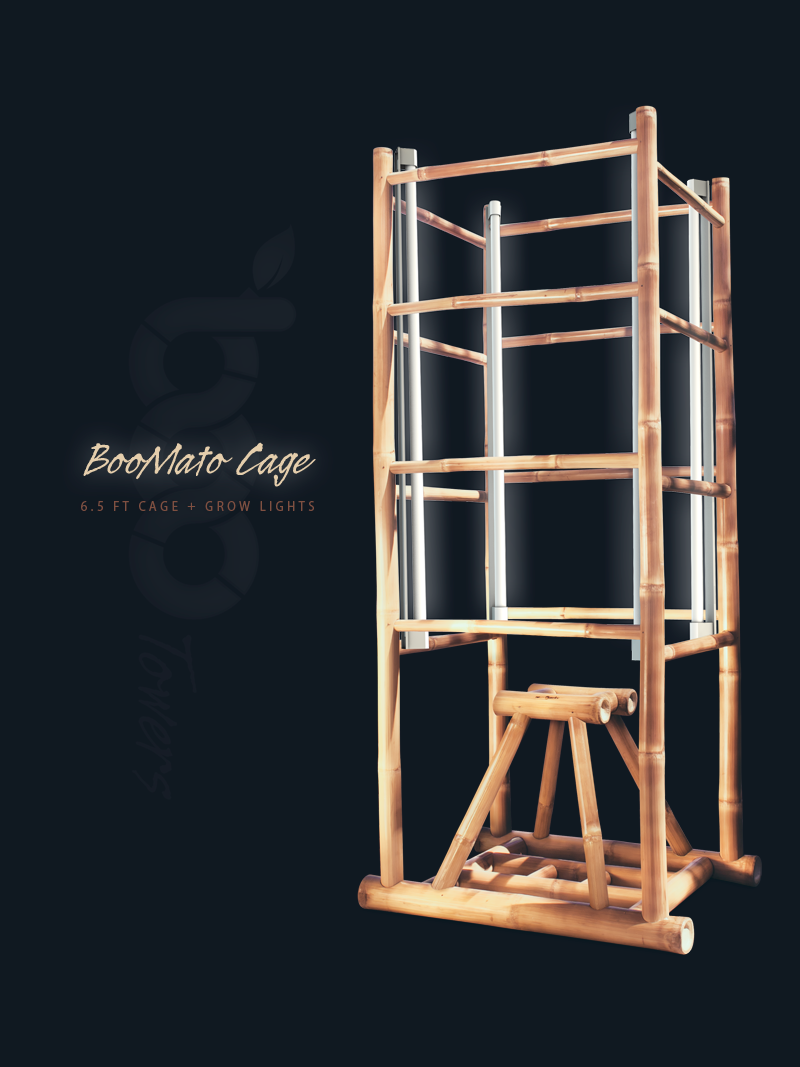 BooMato Cage 6.5 ft - Vertical Bamboo Grow Tower Enclosure + Grow Lights